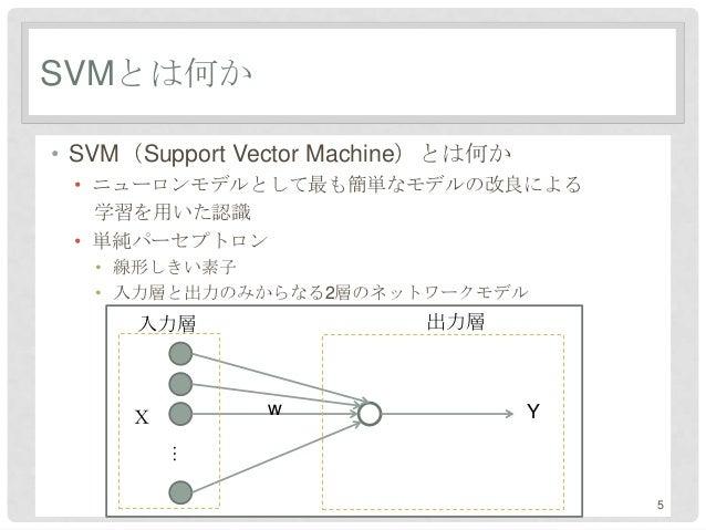 SVMとは何か• SVM(Support Vector Machine)とは何か • ニューロンモデルとして最も簡単なモデルの改良による   学習を用いた認識 • 単純パーセプトロン   • 線形しきい素子   • 入力層と出力のみからなる2層...