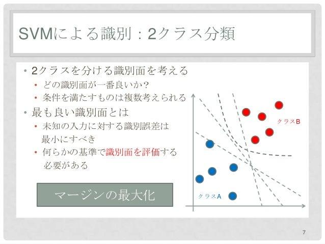 SVMによる識別:2クラス分類• 2クラスを分ける識別面を考える • どの識別面が一番良いか? • 条件を満たすものは複数考えられる• 最も良い識別面とは                             クラスB • 未知の入力に対する...