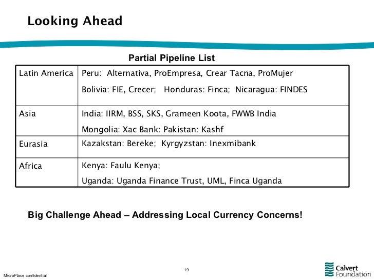 Looking Ahead Partial Pipeline List Big Challenge Ahead – Addressing Local Currency Concerns!  Kenya: Faulu Kenya;  Uganda...