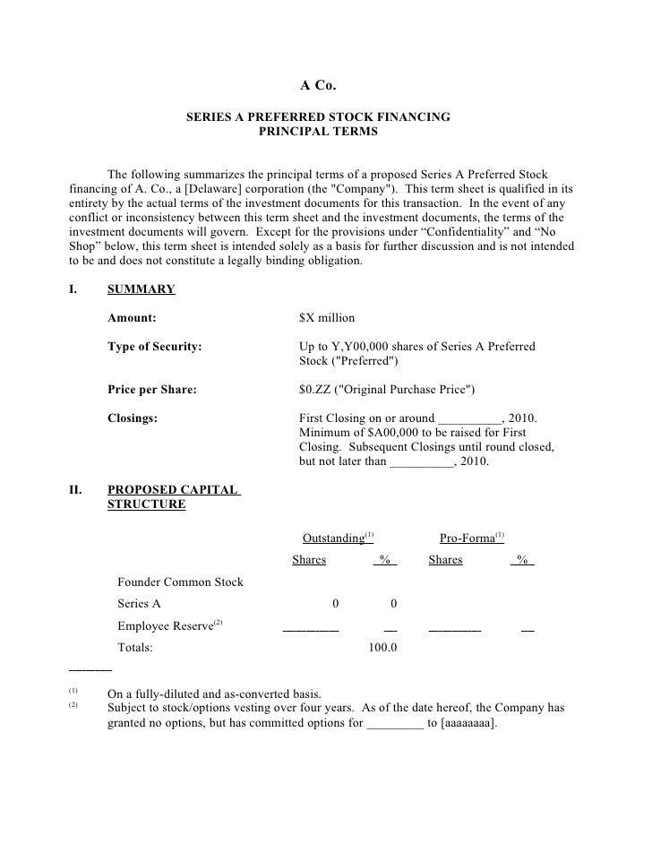 Sample Silicon Valley Series A Term Sheet from DLA Piper SVNewTech – Term Sheet Template