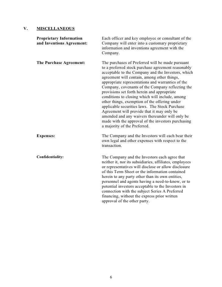 Sample silicon valley series a term sheet from dla piper for Employee key holder agreement template