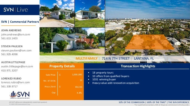 Sale Price $ No. of Units Price /Unit $ Cap Transaction Highlights Property Details 50% OF THE COMMISSION   100% OF THE TI...