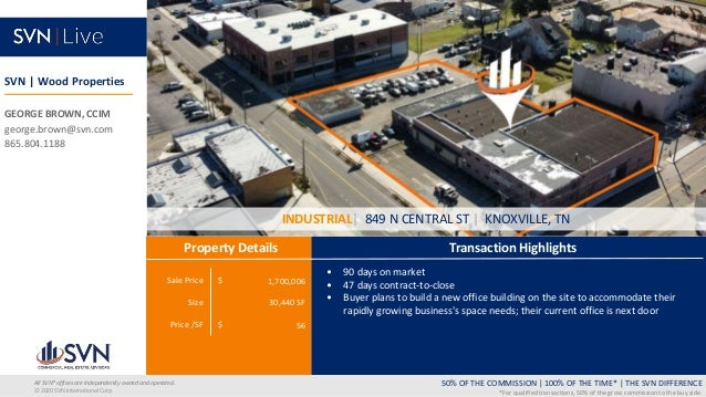Sale Price $ Size Price /SF $ Transaction Highlights Property Details 50% OF THE COMMISSION   100% OF THE TIME*   THE SVN ...