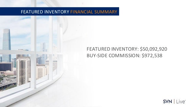 www.svn.com PAGE   FEATURED INVENTORY: $50,092,920 BUY-SIDE COMMISSION: $972,538 FEATURED INVENTORY FINANCIAL SUMMARY