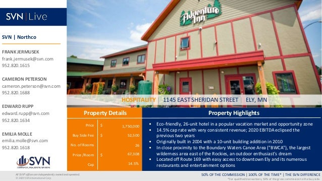Price $ Buy Side Fee $ No. of Rooms Price /Room $ Cap Property Highlights Property Details 50% OF THE COMMISSION   100% OF...