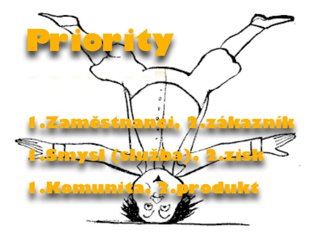 Priority  1.Zaměstnanci, 2.zákazník  1.Smysl (služba), 2.zisk  1.Komunita, 2.produkt