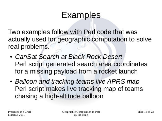 Geographic computation in perl for Perl script template