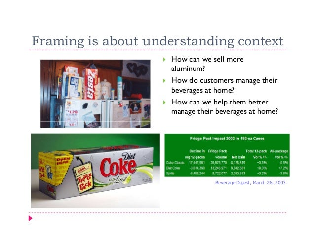 Framing is about understanding context                     How can we sell more                     aluminum?             ...