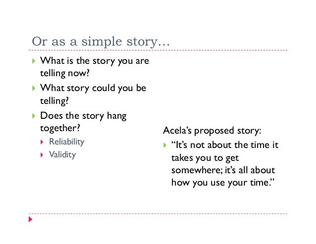 Or as a simple story… What is the story you are telling now? What story could you be telling? Does the story hang together...