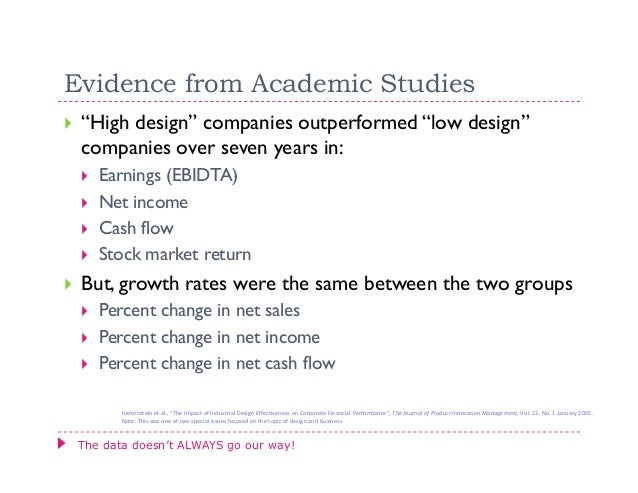 """Evidence from Academic Studies """"High design"""" companies outperformed """"low design"""" companies over seven years in:    Earning..."""