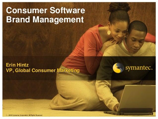Consumer SoftwareBrand ManagementErin HintzVP, Global Consumer Marketing1 – 2005 Symantec Corporation, All Rights Reserved