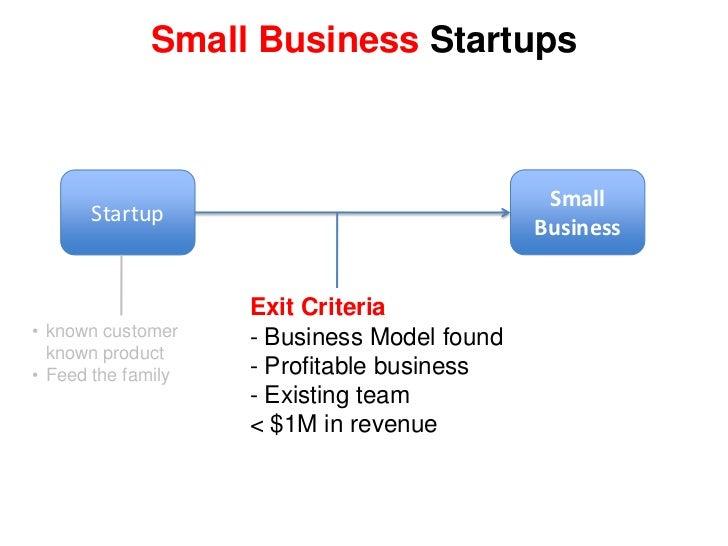 Feed the family</li></li></ul><li>Small Business<br />Startup<br />Exit Criteria<br /><ul><li> Business Model found</li></...