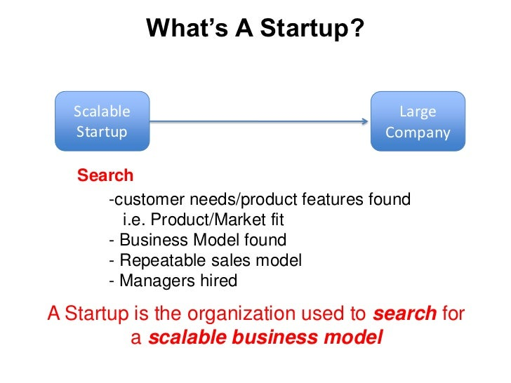 Looks like a scalable startup</li></li></ul><li>Scalable<br />Startup<br />Large Company<br />>$100M/year<br />Scalable S...
