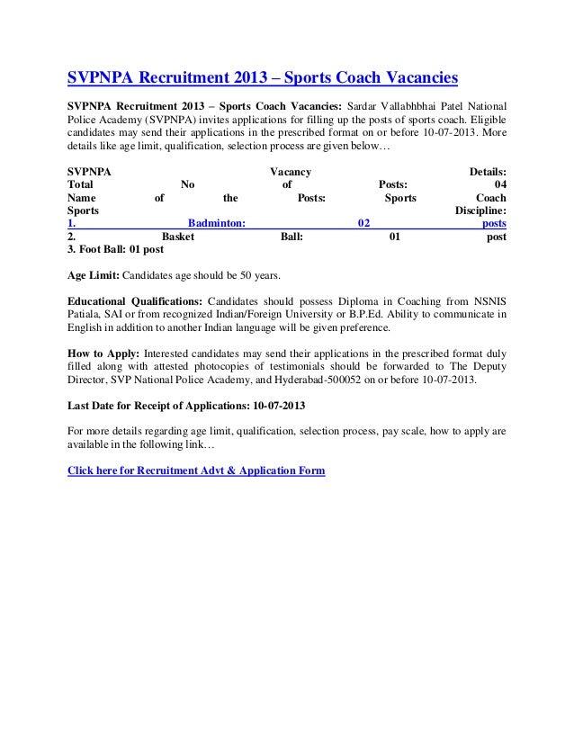 SVPNPA Recruitment 2013 – Sports Coach VacanciesSVPNPA Recruitment 2013 – Sports Coach Vacancies: Sardar Vallabhbhai Patel...
