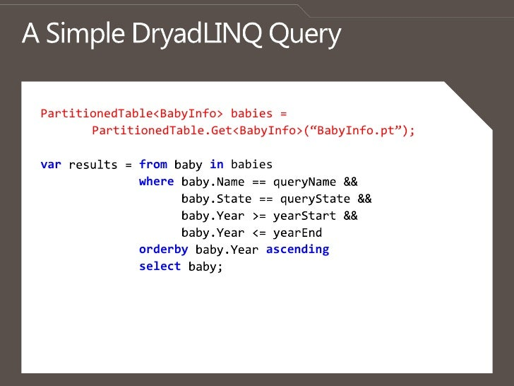 """A Simple DryadLINQQuery<br />PartitionedTable<BabyInfo> babies = <br />PartitionedTable.Get<BabyInfo>(""""BabyInfo.pt"""");<br /..."""