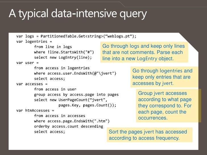 "A typical data-intensive query<br />var logs = PartitionedTable.Get<string>(""weblogs.pt"");<br />varlogentries =<br />     ..."
