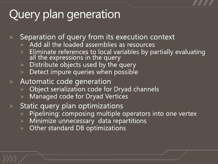Query plan generation<br />Separation of query from its execution context<br />Add all the loaded assemblies as resources<...