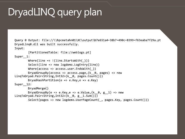 DryadLINQ query plan<br />Query 0 Output: file://pcmetahn01XCoutput7e651a4-38b7-490c-8399-f63eaba7f29a.pt<br />DryadLinq0...