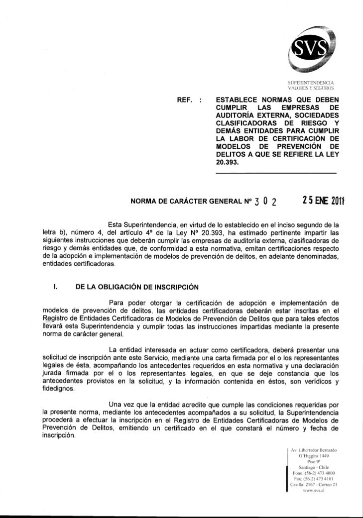 SVS Norma Caracter General 302 (Resp. Penal Empresa)