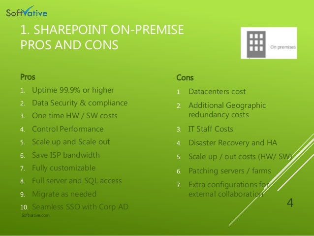 Sharepoint On Premise Office365 And Hybrid Pros Cons And