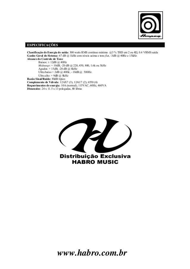 Manual do Cabeçote para Contrabaixo Ampeg SVT-CL (PORTUGUÊS)