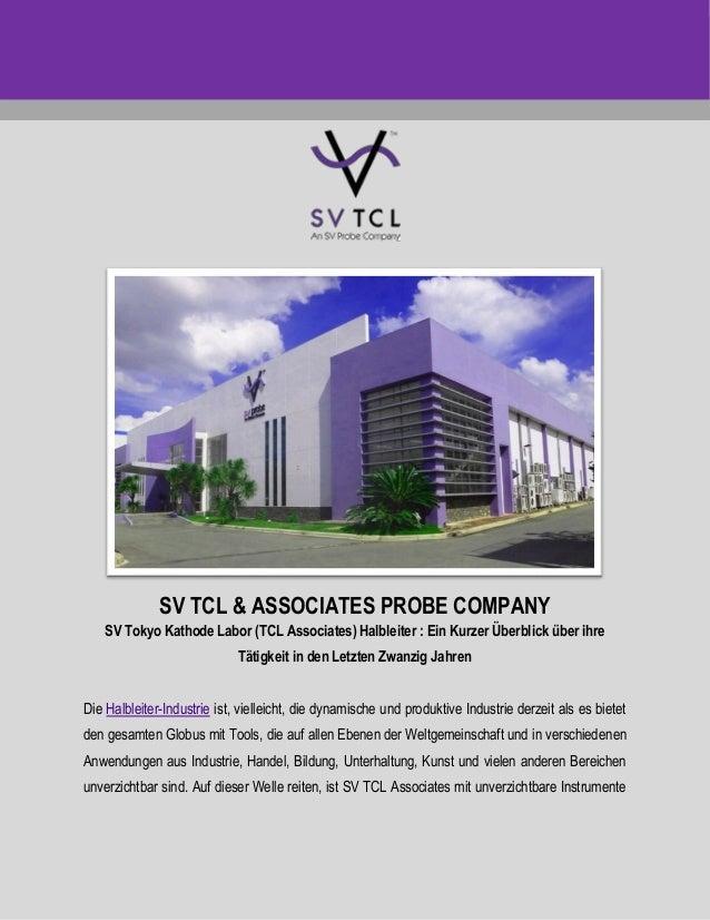 SV TCL & ASSOCIATES PROBE COMPANY SV Tokyo Kathode Labor (TCL Associates) Halbleiter : Ein Kurzer Überblick über ihre Täti...