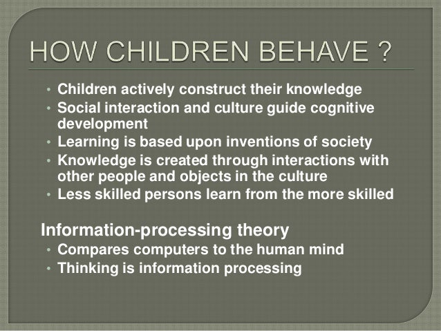 • Children actively construct their knowledge • Social interaction and culture guide cognitive development • Learning is b...