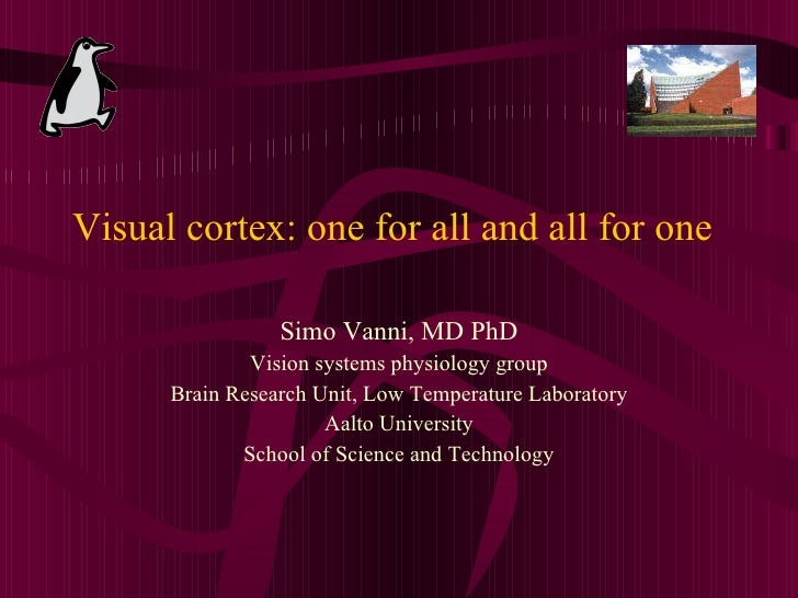 Visual cortex: one for all and all for one <ul><li>Simo Vanni, MD PhD </li></ul><ul><li>Vision systems physiology group </...
