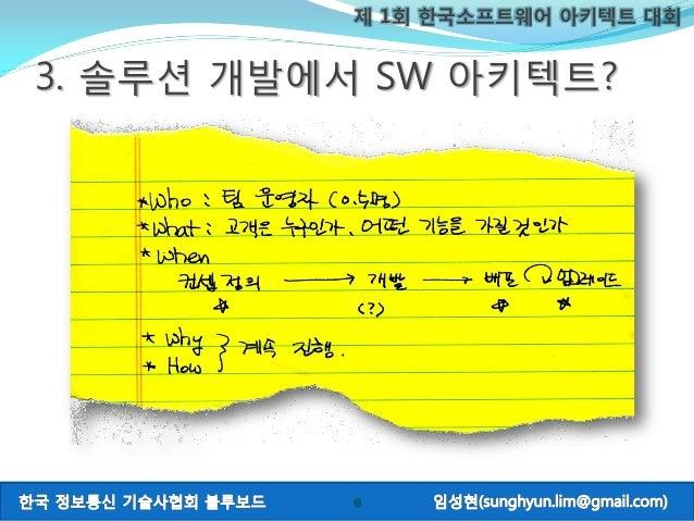 제 1회 한국소프트웨어 아키텍트 대회 6 3. 솔루션 개발에서 SW 아키텍트?