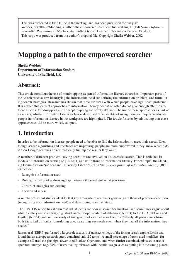 "This was presented at the Online 2002 meeting, and has been published formally as: Webber, S. (2002) ""Mapping a path to th..."