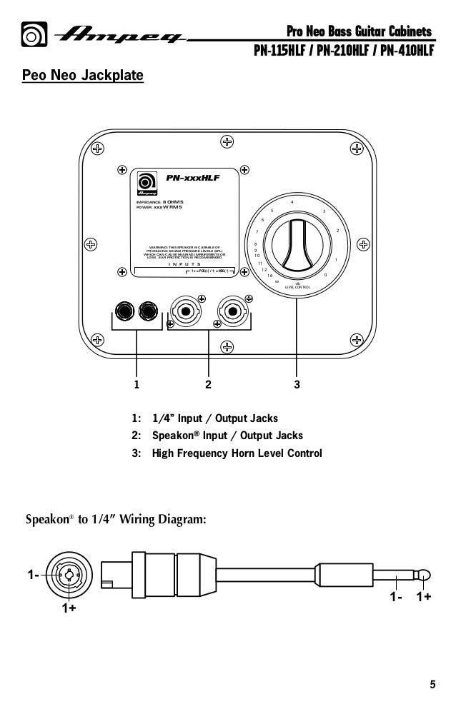 Ampeg Pro Neo PN115HLF 1x15 Bas Gitar Kabini manual