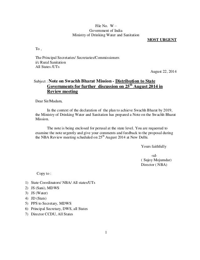 File No. W –  Government of India  Ministry of Drinking Water and Sanitation  1  MOST URGENT  To ,  The Principal Secretar...