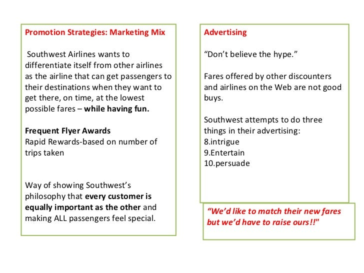 the success of the southwest airlines marketing strategy essay Garrison & keller moving you forward  southwest airlines case study  his successful fuel-hedging strategy, which has insulated southwest from a.