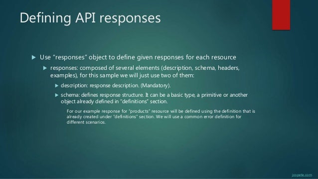 """Defining API responses  Use """"responses"""" object to define given responses for each resource  responses: composed of sever..."""