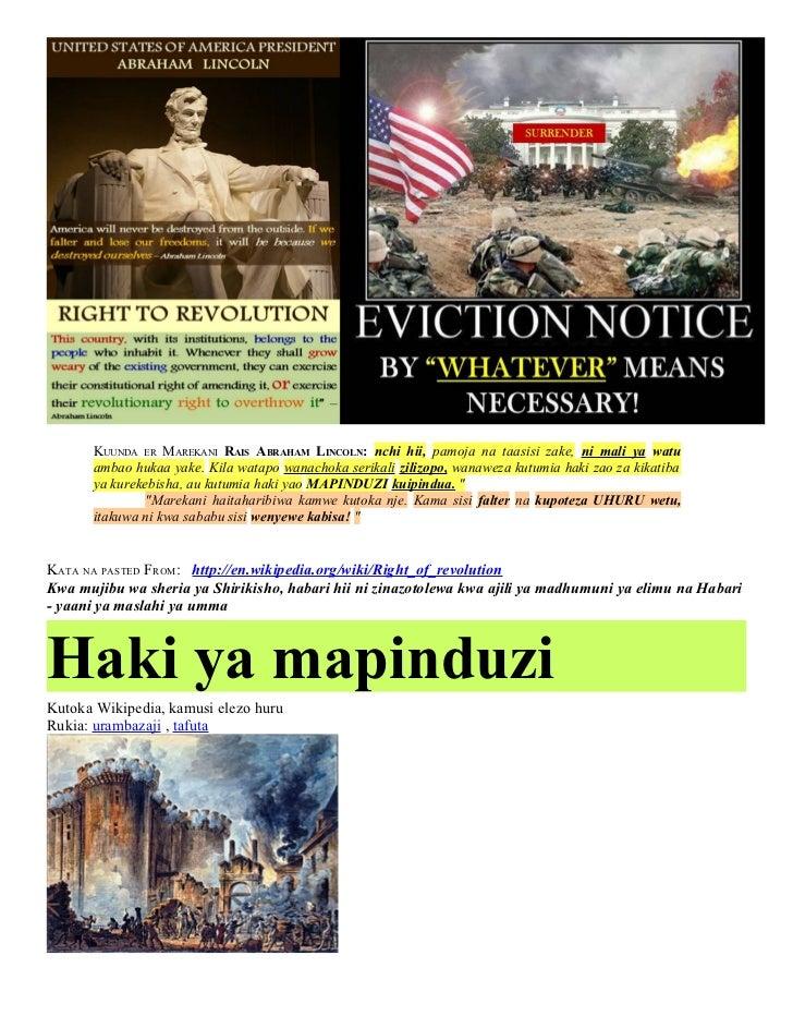 KUUNDA ER MAREKANI RAIS ABRAHAM LINCOLN: nchi hii, pamoja na taasisi zake, ni mali ya watu      ambao hukaa yake. Kila wat...