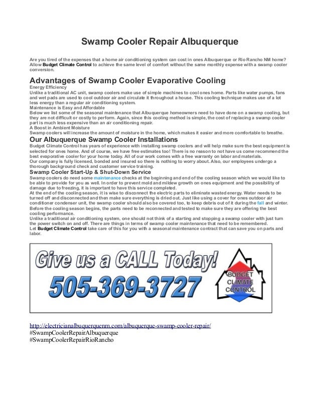 Swamp Cooler Repair Albuquerque Are you tired of the expenses that a home air conditioning system can cost in ones Albuque...