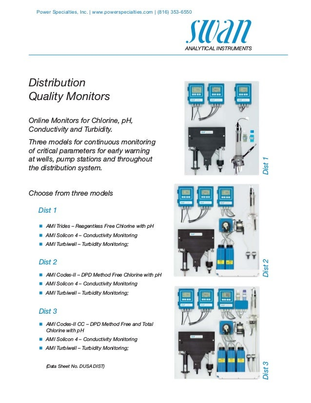 Distribution Quality Monitors Online Monitors for Chlorine, pH, Conductivity and Turbidity. Three models for continuous mo...