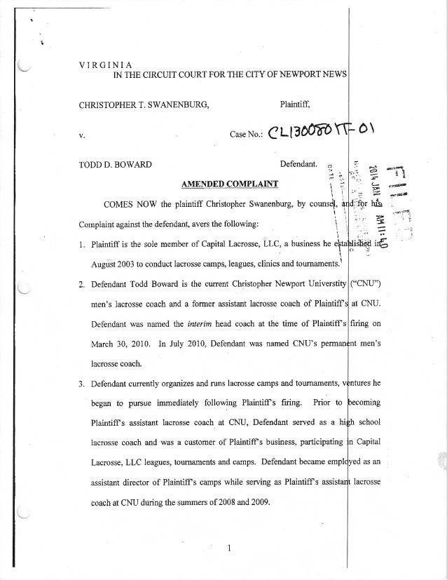 Swanenburg v Boward Amended Complaint