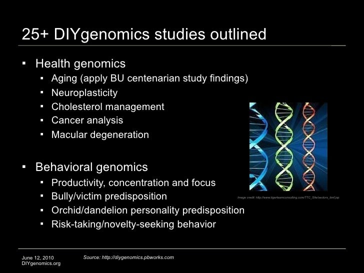 25+ DIYgenomics studies outlined     Health genomics           Aging (apply BU centenarian study findings)           Ne...