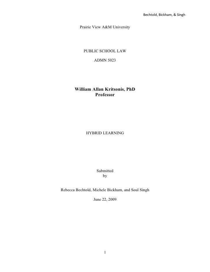 Bechtold, Bickham, & Singh             Prairie View A&M University                 PUBLIC SCHOOL LAW                    AD...