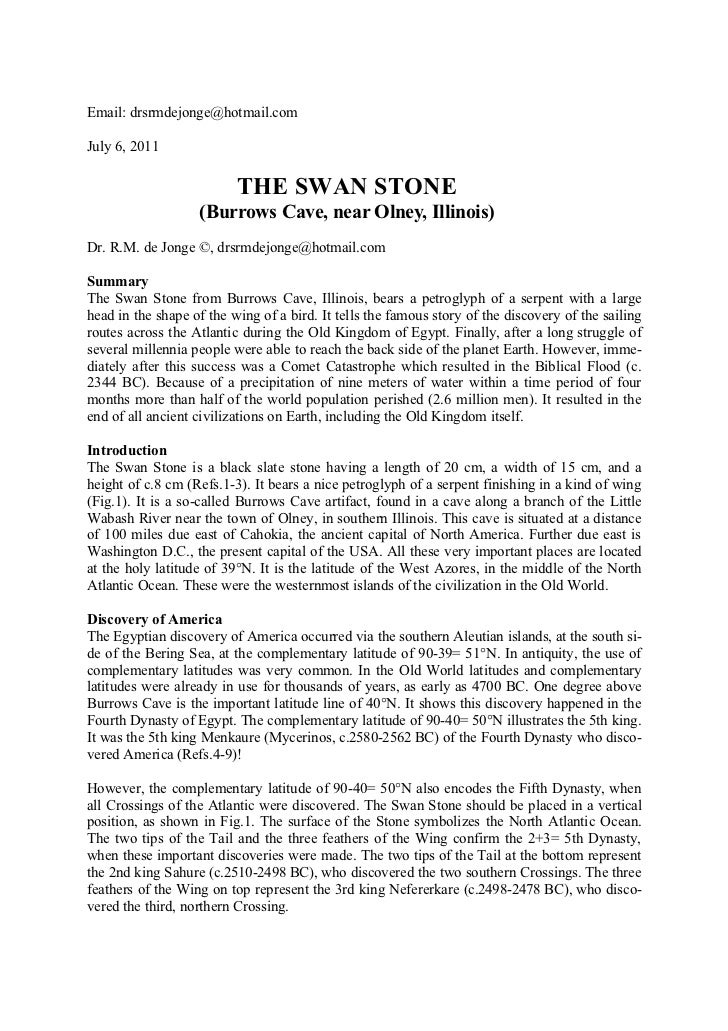 Email: drsrmdejonge@hotmail.comJuly 6, 2011                          THE SWAN STONE                   (Burrows Cave, near ...