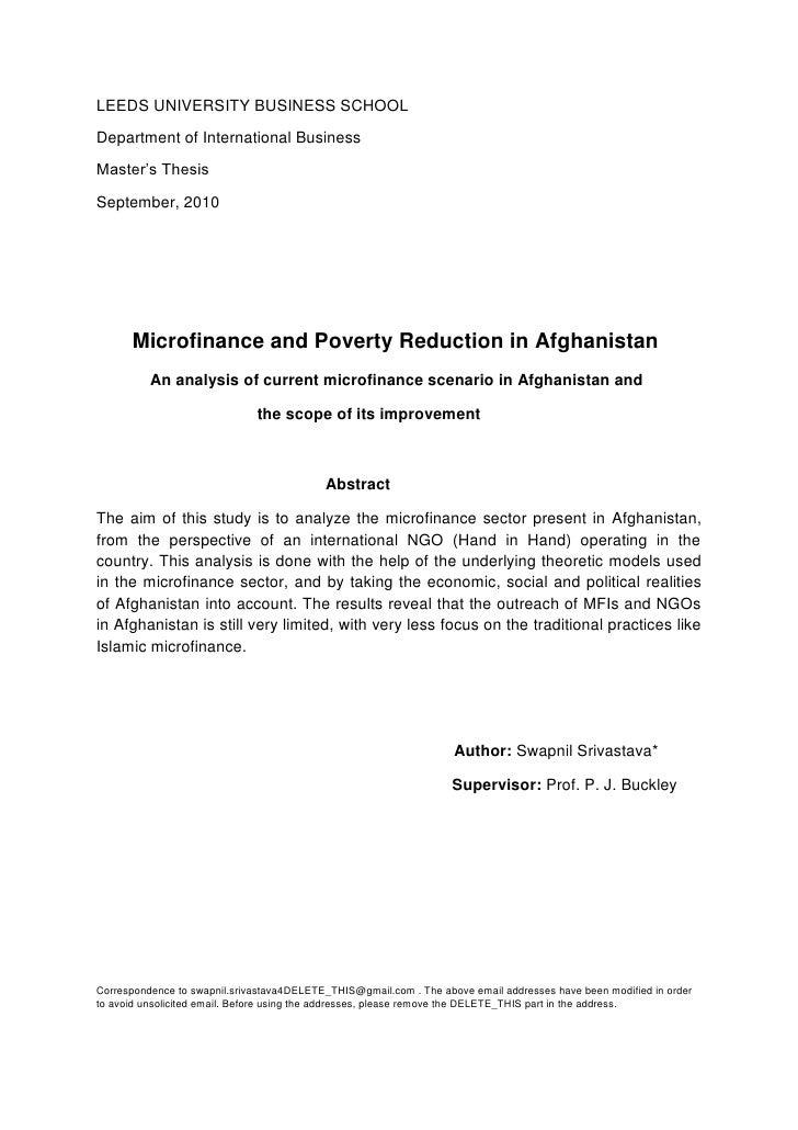 LEEDS UNIVERSITY BUSINESS SCHOOLDepartment of International BusinessMaster's ThesisSeptember, 2010      Microfinance and P...