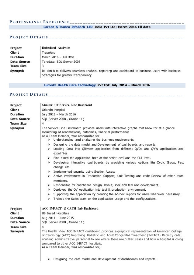 resume for qlikview developer position