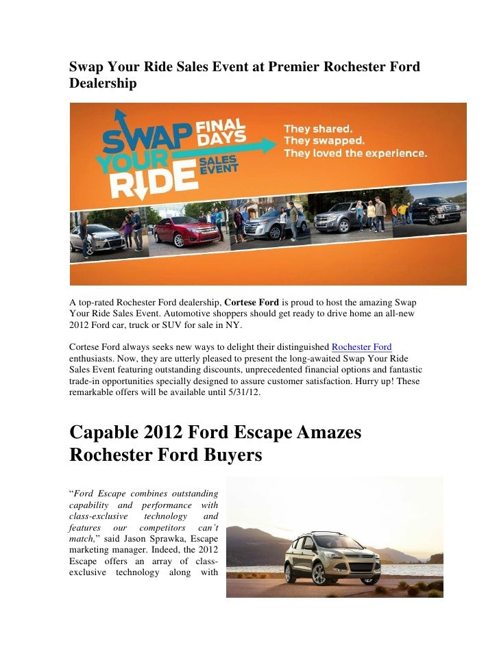 Swap Your Ride Sales Event At Premier Rochester Ford Dealership