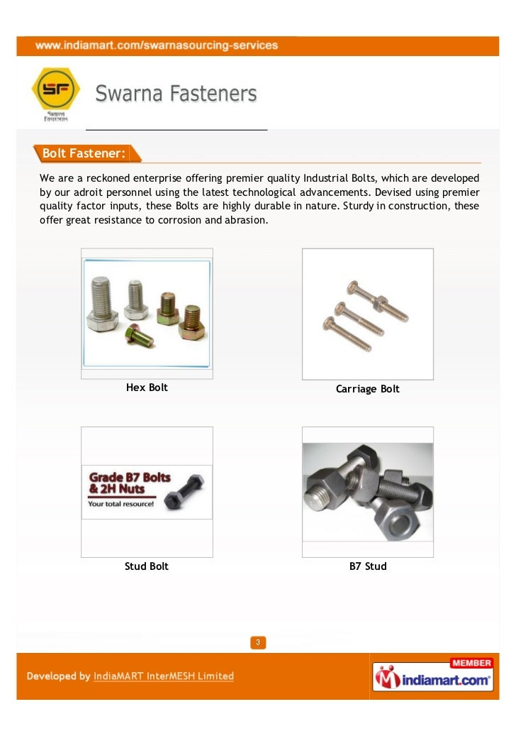Swarna Fasteners, Delhi, Industrial Nuts and Bolts Slide 3