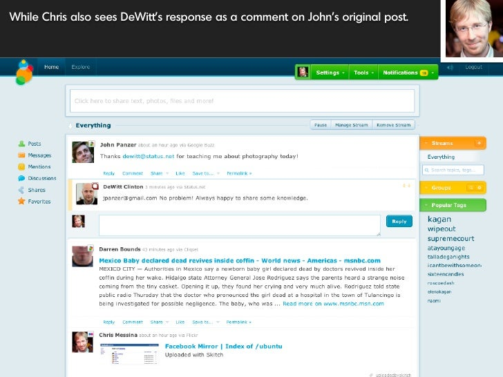 While Chris also sees DeWitt's response as a comment on John's original post.