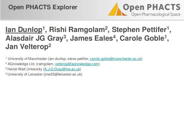 Open PHACTS Explorer  Ian Dunlop1, Rishi Ramgolam2, Stephen Pettifer1, Alasdair JG Gray3, James Eales4, Carole Goble1, Jan...
