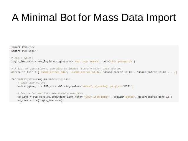 A Minimal Bot for Mass Data Import