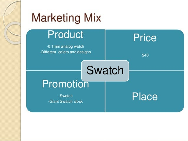 swatch market objective Marketing plan for swatch 1 mission 7 42 marketing objectives lately e-commerce is used widely and becoming more popular27) the target market of swatch.