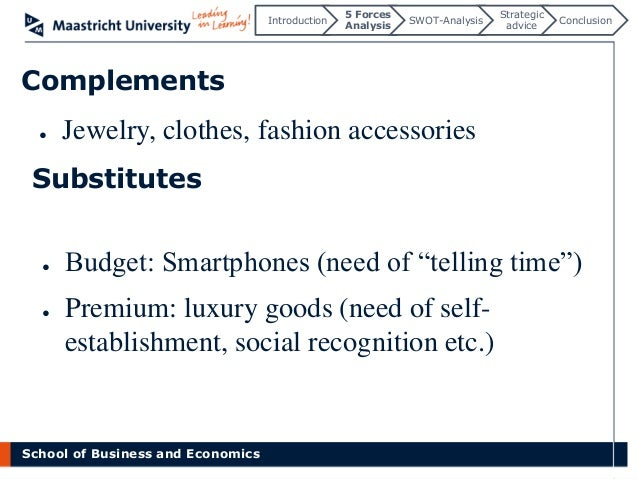 swot for watch industry 3 executive summary: smart watch, also interchangeably referred to as wearable computer, is a computerized wristwatch a swot analysis of smart watch was done which gives a brief overview of its benefits and reyos is another company that also wants its piece of pie in the smart watch industry the company.